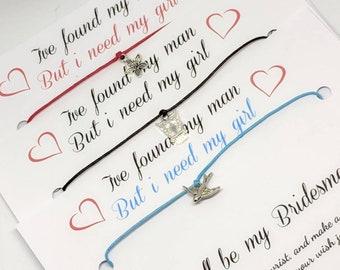 Bridesmaid, ask, wish bracelet, cord bracelet, sentimental, gift, friend, bridesmaids, friendship, best friend, luck, lucky, tie, wedding