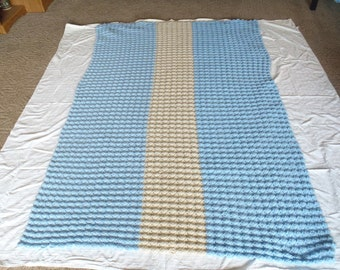 Hand Made Crochet Blanket Afghan Blue and Cream
