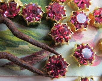 Vintage Swarovski Pink Crystals in Star Setting
