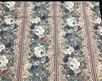 1 3/4 Yards of Vintage Dusty Rose, Green and White Floral and Stripes Print Cotton Fabric