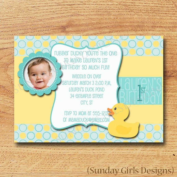 Rubber ducky birthday party invitation printable custom card filmwisefo Image collections