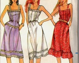 1980s Uncut Sundress Camisole Skirt Butterick 3754 Size 11 Bust 33 half Sun Dress Sewing Pattern