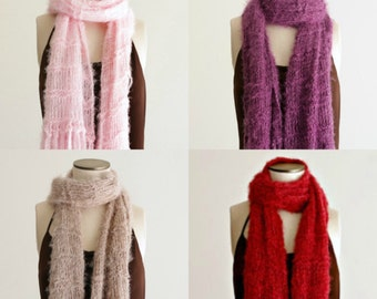 Scarves Women Knit Accessories Knit Scarf Solid Colored Scarf with Fringe Gift for Her Girlfriend Gift