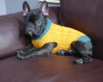 SHIPS TOMORROW - SALE -  size medium - 100% Wool - Cable Knit Mustard and Jade Green Dog Sweater - Size Medium