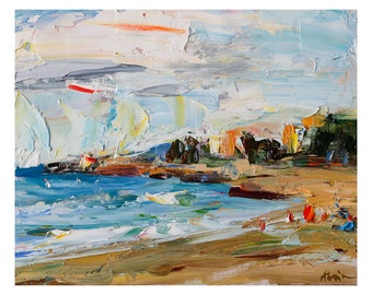 Giclee Fine Art Print - Windy Spring Morning on the Beach Original Plein Air Seascape Painting Oil Paintings Waves Coast Sky Seascapes Shore