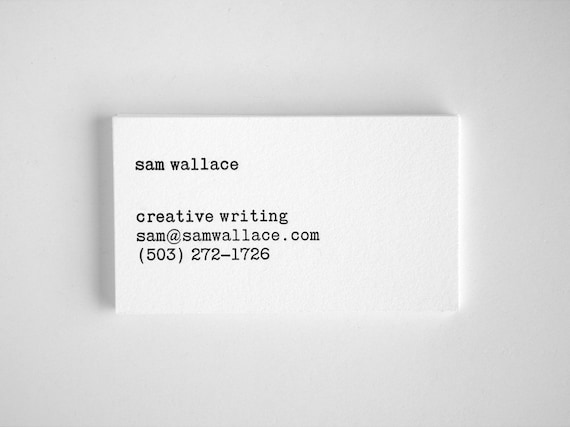 Typewriter business cards editor style letterpress black reheart Gallery