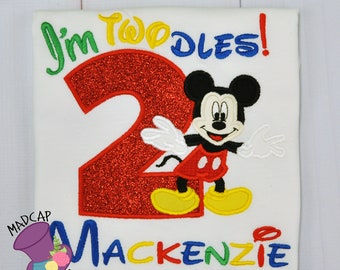 2nd- Twodles -Mickey - Mouse- Club- Inspired- Birthday - oh -Toodles - Shirt -  Embroidery -Personalize- Custom -First- Second -Girls- party