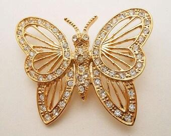 Vintage Rhinestone Butterfly Brooch, Signed Roman