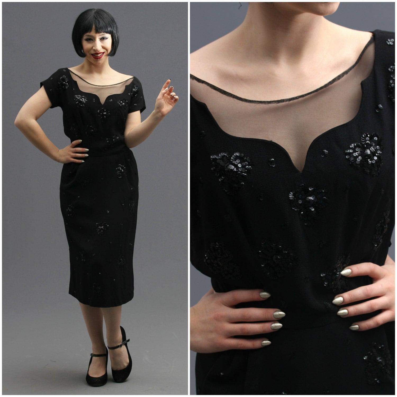 40er Jahre 50er Jahre schwarz Cocktailkleid b Pailletten und