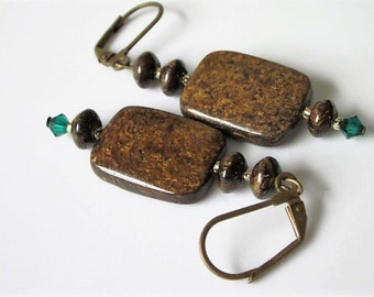 Bronzite Earrings, Bronzite Jewelry, Natural Stone, Large Gemstone, Bohemian Jewelry, Boho Earrings, Brown Gemstone Earrings