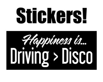 vinyl stickers decals happiness is driving disco widespread panic