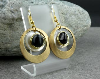 Obsidian Earrings, Obsidian, Shell & Brass Earrings