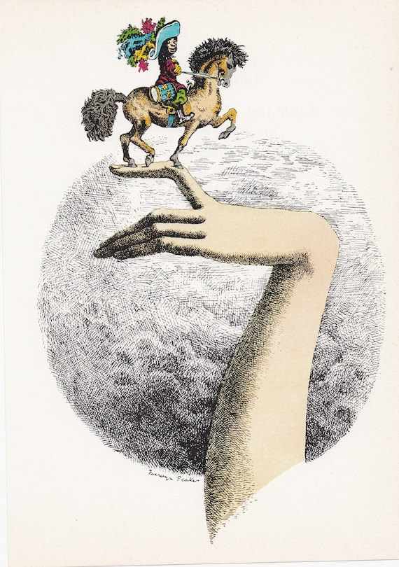 "Illustration of nursery rhyme ""I Had a Little Husband"" by Mervyn Peake, 1975 book illustration, 9.75 x 7 inches"