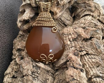 Yellow/orange agate on oxidized bronze necklace