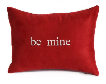 Valentine pillow, 12x16, Red decorative pillow cover, Valentine Day decor, Throw pillow, Lumbar pillow, Red pillows, Be mine pillow