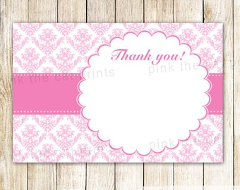 Pink Damask Thank You Note, Blank Handwritten Card, Girl Birthday Party, Baby Girl Shower, Printable File, Damask Birthday, INSTANT DOWNLAOD
