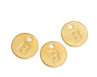 Letter B - 12mm Golden gold pendant