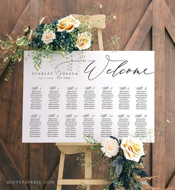 Self-Editing Seating Chart Template, Printable Wedding Seating Sign, Instant Download, 100% Editable, DIY, US & UK Poster Sizes #052-225SC