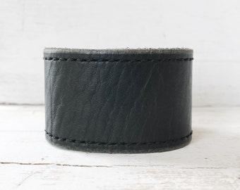 Wide Upcycled Leather Cuff - Unisex