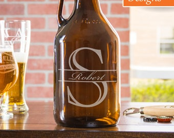 Personalized Growler, Beer Growler, Gift For Him, Custom Beer Growler, Etched Growler, Monogram Growler, Wedding Growler, Bar Growler