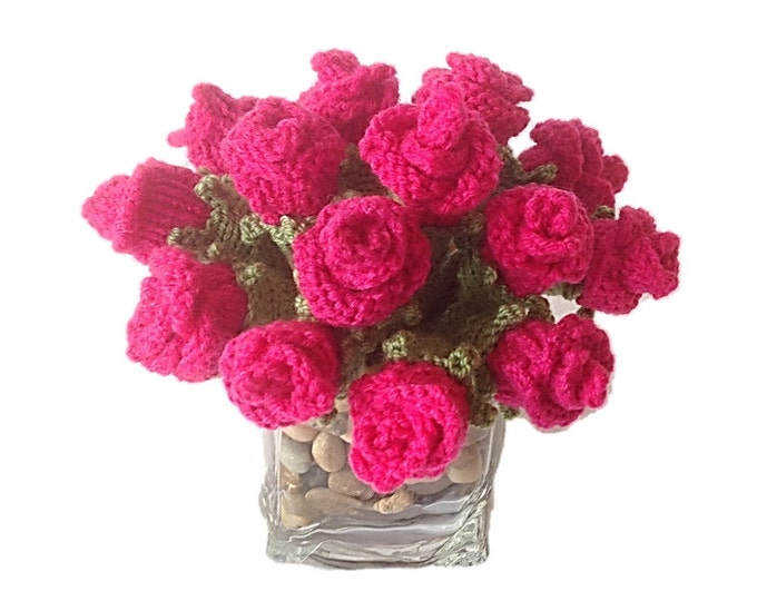 Knitting pattern for roses, Knitted rose buds, flower knitting pattern, knitted floral display, knitted flower display, knitted flower gift,