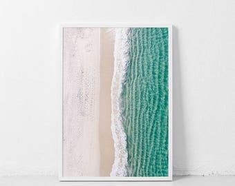 La Plage | Aerial photography | Printable Beach poster | from above | Beach printable poster | Aerial Ocean Coastal decor wall art