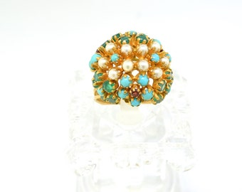 18k Turquoise Emerald Garnet And Pearls. Size 5.75