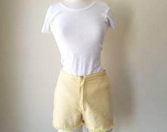 Vintage 1970s Wrangler yellow cutt off shorts W13'