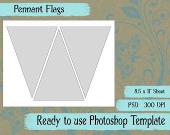 Scrapbook Digital Collage Photoshop Template, Pennant Flag Template