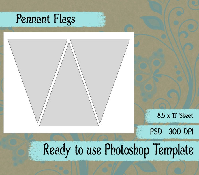 Scrapbook Digital Collage Photoshop Template, Pennant Flag Template ...