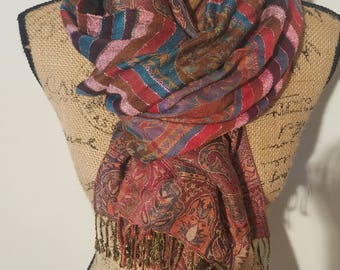 Coldwater Creek striped floral over sized vibrant cozy fringe shawl scarf shoulder wrap