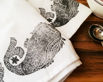 "Black Fish Block Printed Flour Sack Kitchen Towel 28"" x 32"""