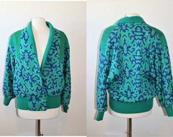 1980's Green And Blue Metallic Funky Jacket Large Knit Vintage Retro 80's Hipster Abstract