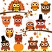 Thanksgiving Owl Clipart Clip Art, Happy Thanksgiving Owl Party Decor Clipart Clip Art Vectors - Commercial and Personal