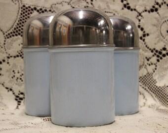Vintage Blue Metal Canister Set of 3
