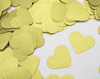 Gold Heart Confetti - Golden Paper Hearts - Shimmery Gold Confetti - Gold Wedding Table Scatter