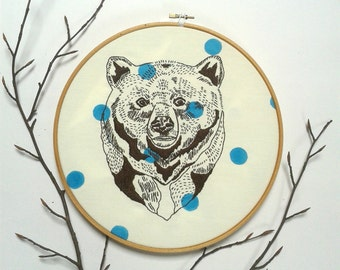 Bear. Embroidery pattern pdf. Hand embroidery design. DIY wall art. Statement wall art.Cushion cover design.DIY home decor.Bear illustration