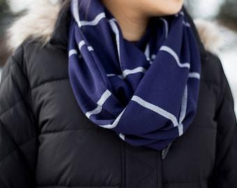 Cobalt blue and white windowpane plaid infinity scarf