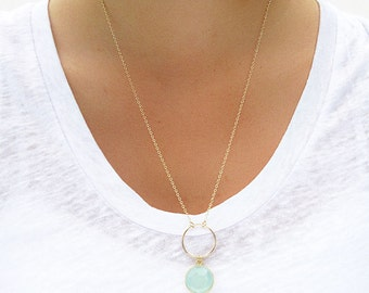 Aqua Chalcedony Circle Pendant Necklace - Aqua Chalcedony Necklace - Circle Necklace