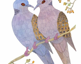 2 Turtle Doves, 12 days of Christmas, Holiday Card
