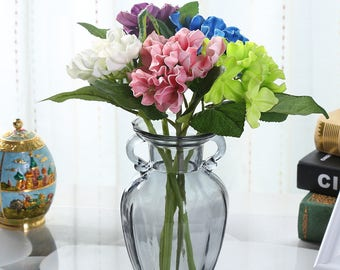 Set of 10-Nearly natural real touch PU Artificial Hydrangea Flowers.