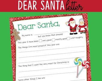 Letter from Santa Template - Red Christmas - Santa Claus - INSTANT DOWNLOAD - Printable PDF with fillable Text - fun holiday family game