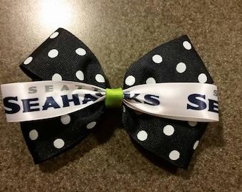 Seahawks Hair Bow or Headband - Navy Polka-Dot Boutique Style Seahawks HairBow or Headband