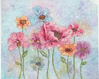 Poppy Watercolor Painting,Poppy Aluminum,Poppy Art, Botanical Art,Poppy Wall Art, Metal ArtWatercolor Batik,Poppy Batik,Batik Art