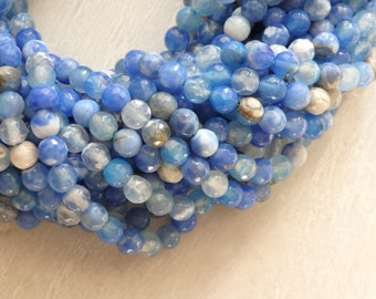 """Blue agate beads - 6mm faceted agate beads in a range of mid to light blues - 14.5"""" strand of 6mm faceted round agate beads, gemstone beads"""