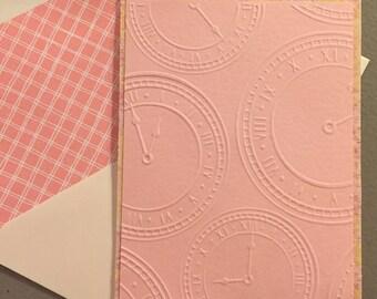 Just Because Card Set--Pink Cards--Clocks Cards--Time Flies Cards--Set of 4