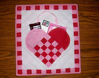Handmade Quilted Valentine Mailbox Wall Quilt-MADE TO ORDER