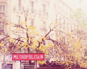 Paris Metro photography print, stillife photo, paris wall art, home decor, autumn, travel, fine art photography, vintage, whimisical