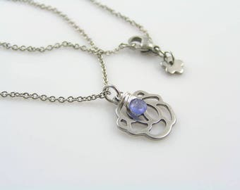 Tanzanite Necklace with Rose Charm, Rose Necklace, Tanzanite Jewelry, Gemstone Jewelry, Gemstone Necklace, Gift for Women, N2061