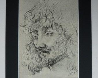 1882 Antique Anthony Van Dyck Print - Study Of A Head - Portrait Of A Man - Antique Baroque Gift - Baroque Engraving Print - Baroque Decor